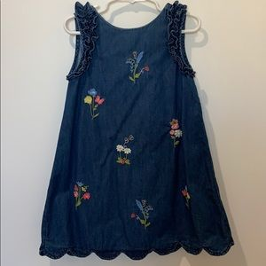 girls summer denim dress with embroidery
